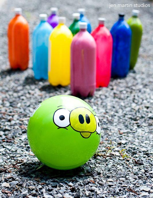 Juego de bolos de Angry Birds  cumpleaos  Pinterest  Juego de