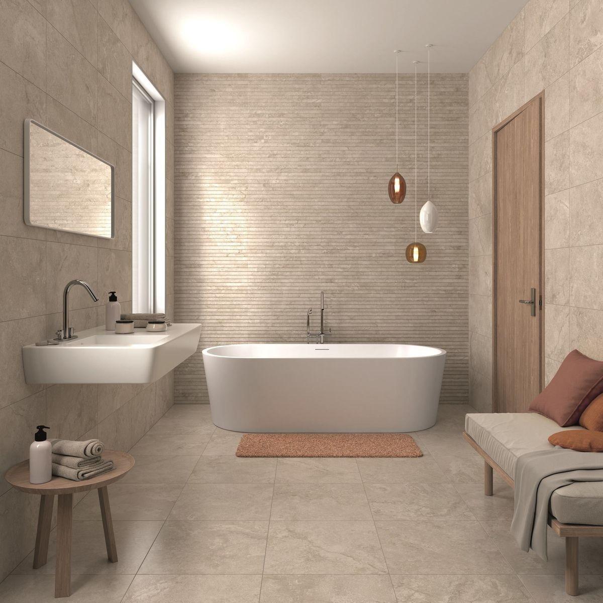 Beige Bathroom Ideas For Feeling Bright And Homey Bathroom Feature Wall Beige Tile Bathroom Brown Tile Bathroom