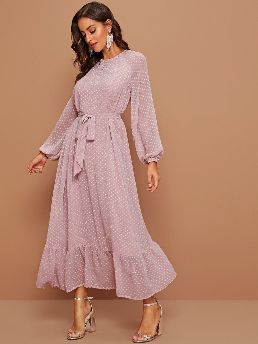 Pink Pastel Raglan Lantern Sleeve Flounce Hem Swiss Dot Dress Cs07296 Swiss Dot Dress Long Sleeve Midi Dress Fashion Dresses [ 1200 x 901 Pixel ]