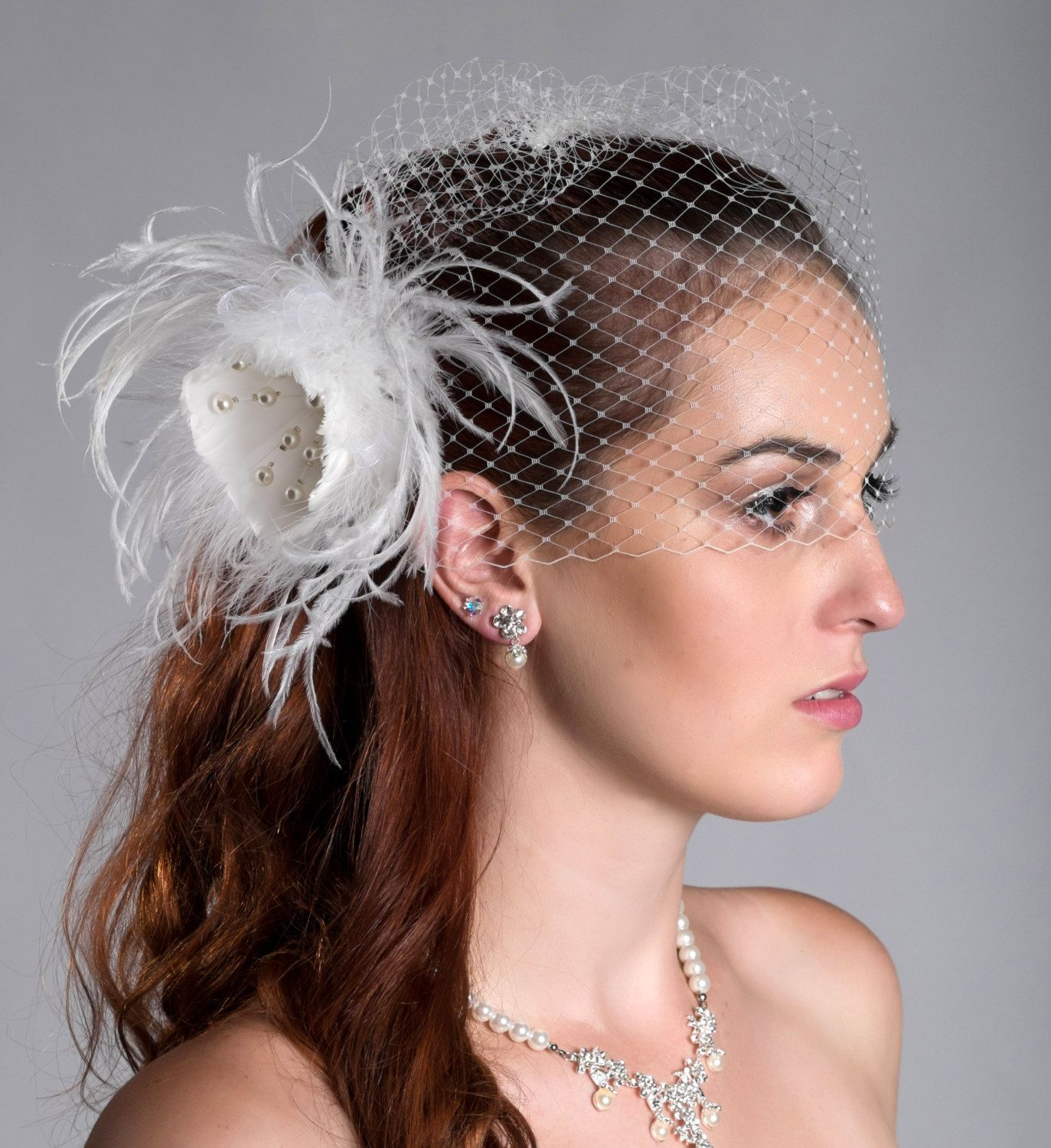 "2 items- Detachable birdcage veil and feather fascinator 12"" or 9""  (ivory or white) by AniandJonBridal on Etsy"