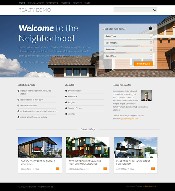 This Free Real Estate WordPress Theme Offers A Responsive Design - Wordpress contact us page with google map