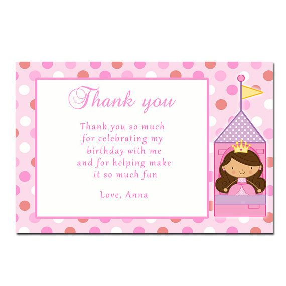 adorable princess thank you card for birthday or baby showers with