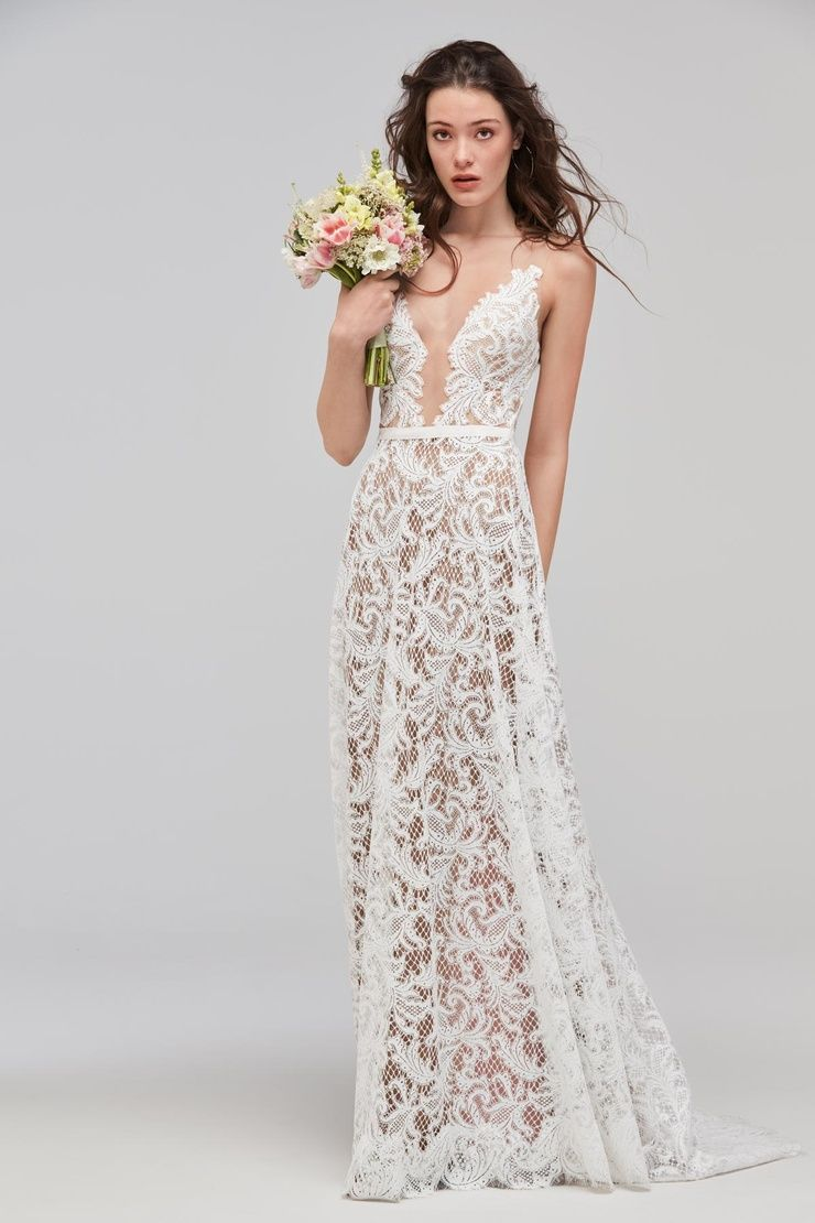 df74a163768 Sheer lace A-line wedding gown. Ivory lace over nude lining. Open back bridal  gown with straps.