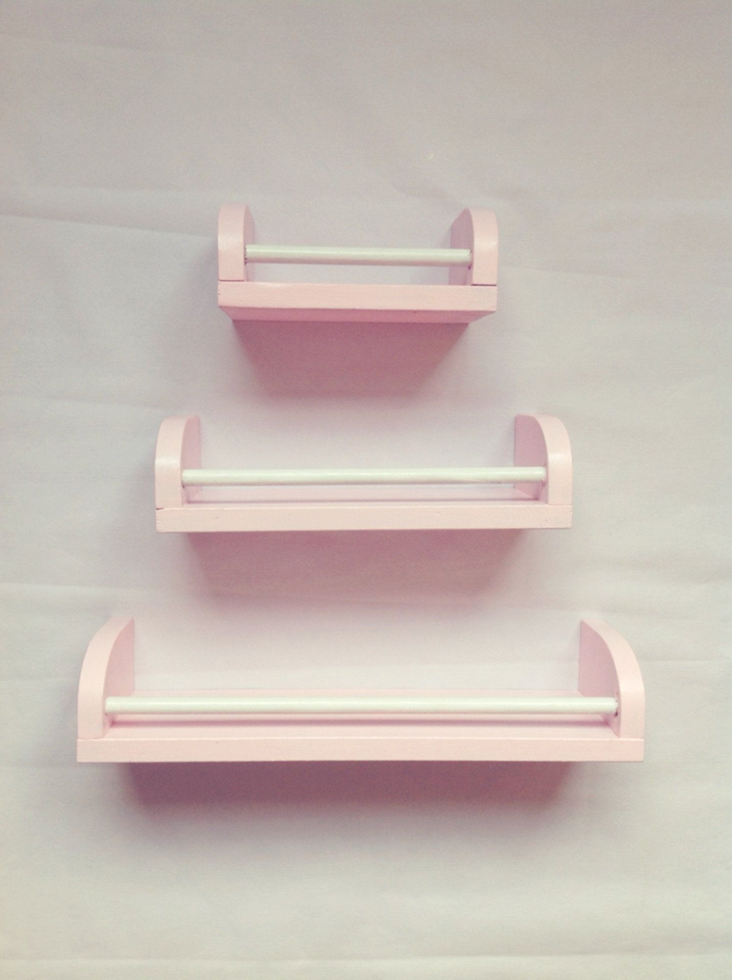Set Of 3 Pink And White Floating Shelves Decorative Wall