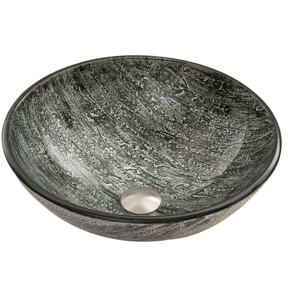 Vigo Titanium Handmade Glass Round Vessel Bathroom Sink In Slate