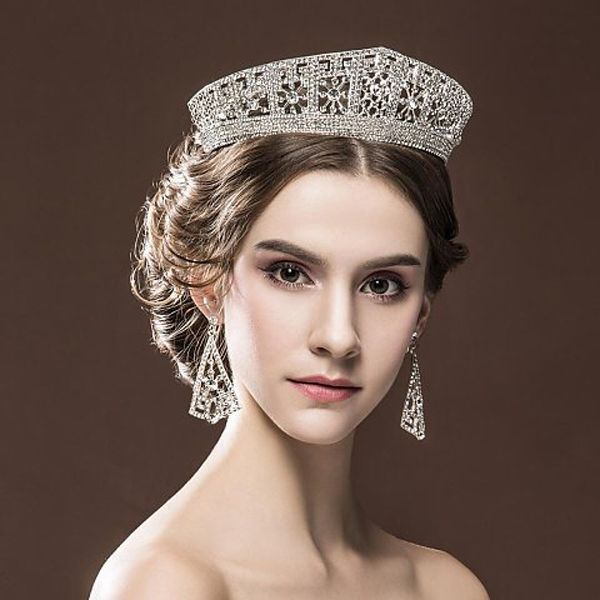Princess Sophie Prussian Meander Chic Regal Vintage White Gold Plated Special Kings Rhinestones Royal Crowns For Wedding Prom