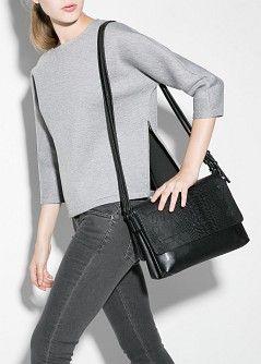 #mango #bag #black #purse Carteira cruzada aba