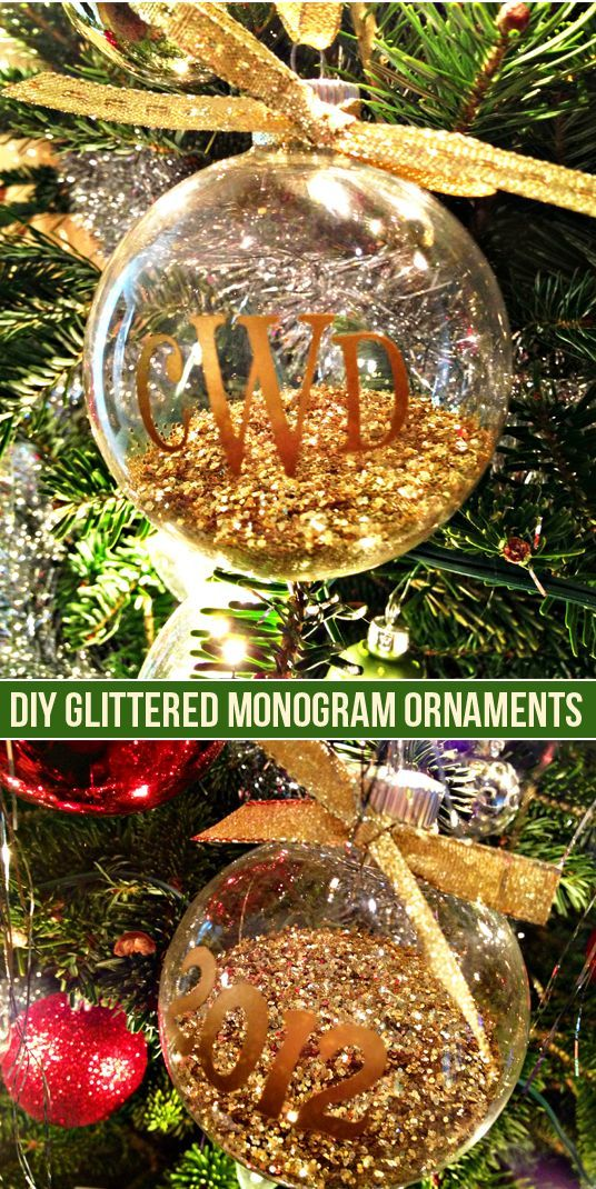 diy glittered monogram ornaments made with the silhouette portrait clear glass ornaments glass christmas ornaments - Black Friday Deals Christmas Decorations