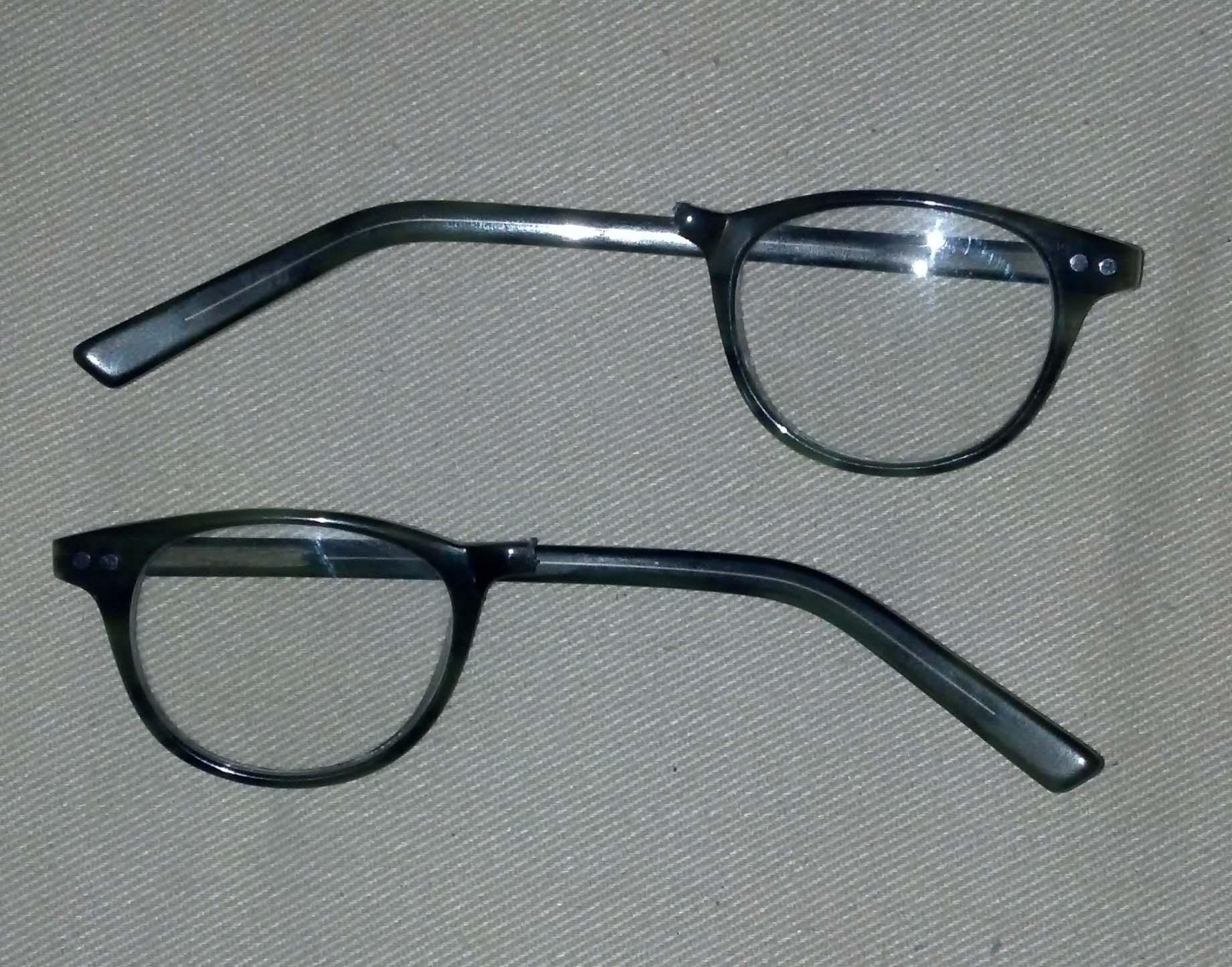 Before pic of green plastic eyeglass frame broken in