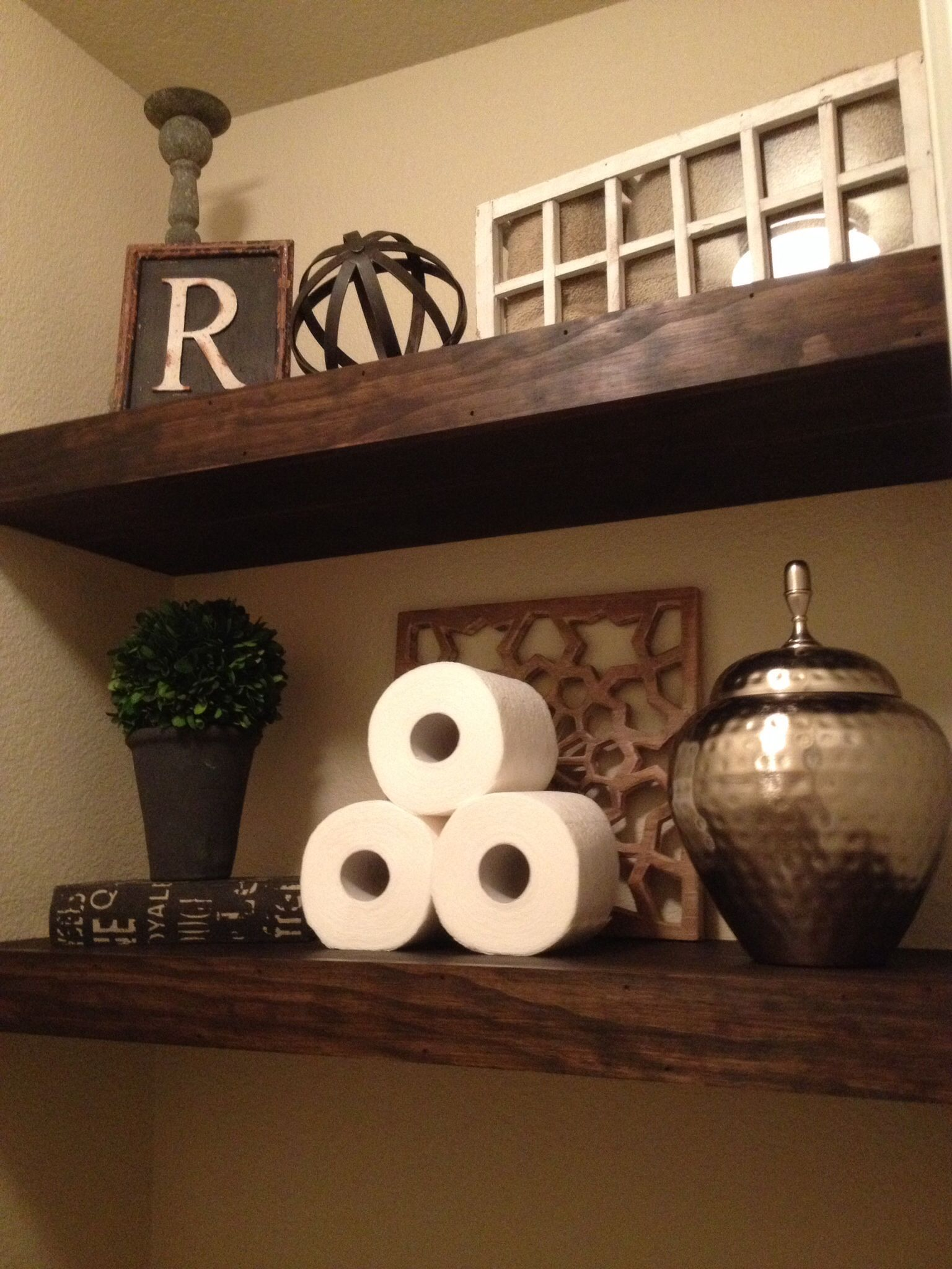 Shelves in my master bathroom water closet | Bathrooms | Pinterest ...