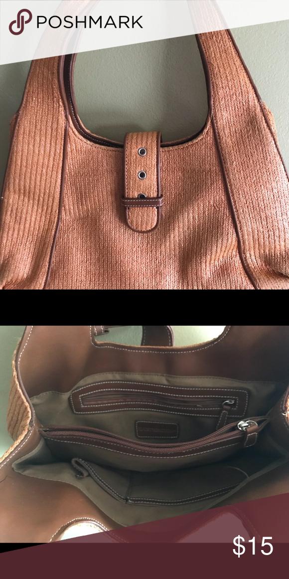 92ed6c3d21 Worthington salmon color cloth straw like purse