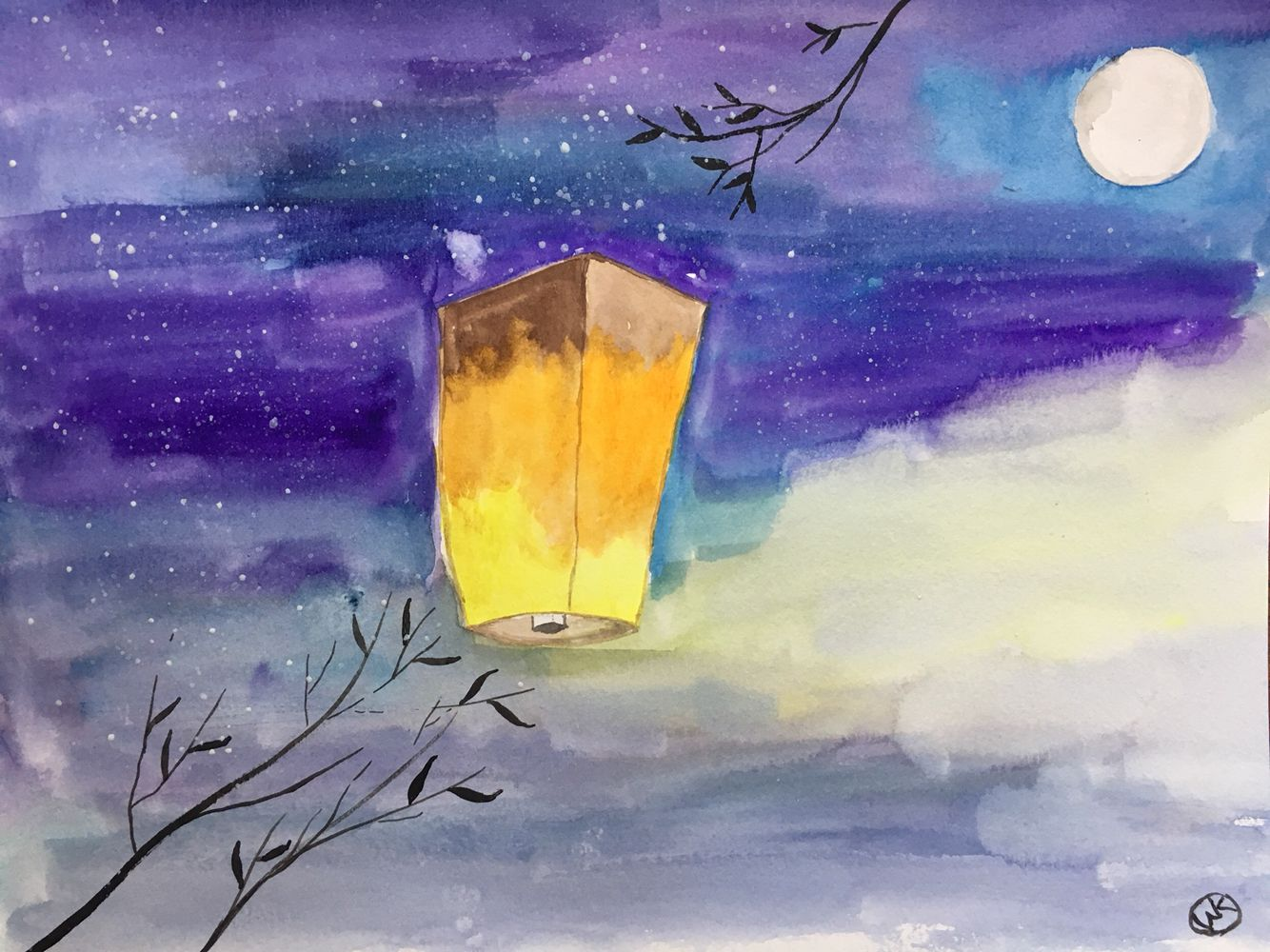 Sky Lantern Watercolor 9x12 Painting Art Abstract Artwork