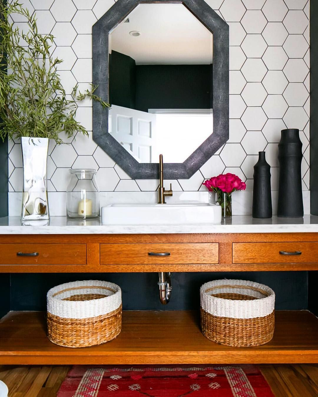 new bathroom images%0A Hex tile  black grout  dark green walls  not pictured   new sink and matte  bronze faucet