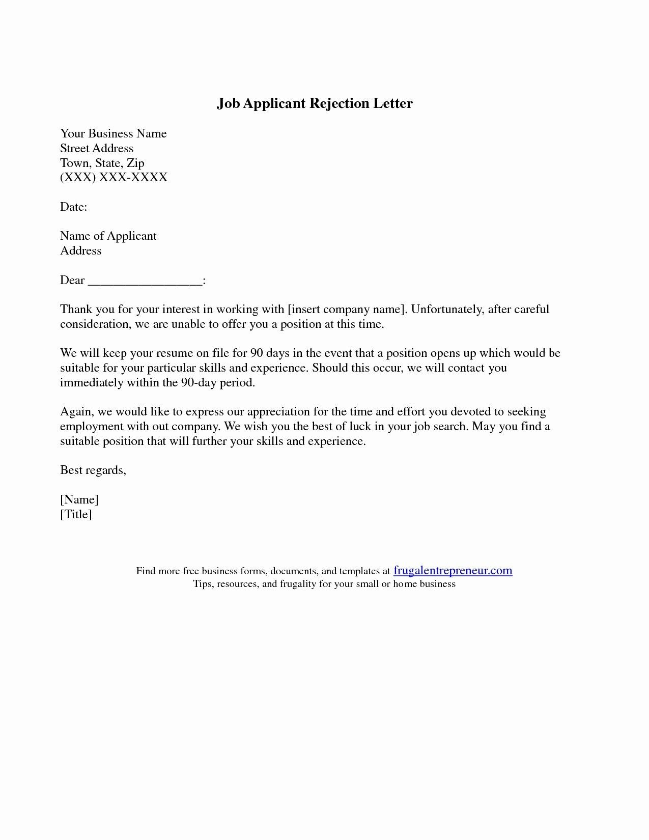 New Job Rejection Letter Template Reference Page For Resume