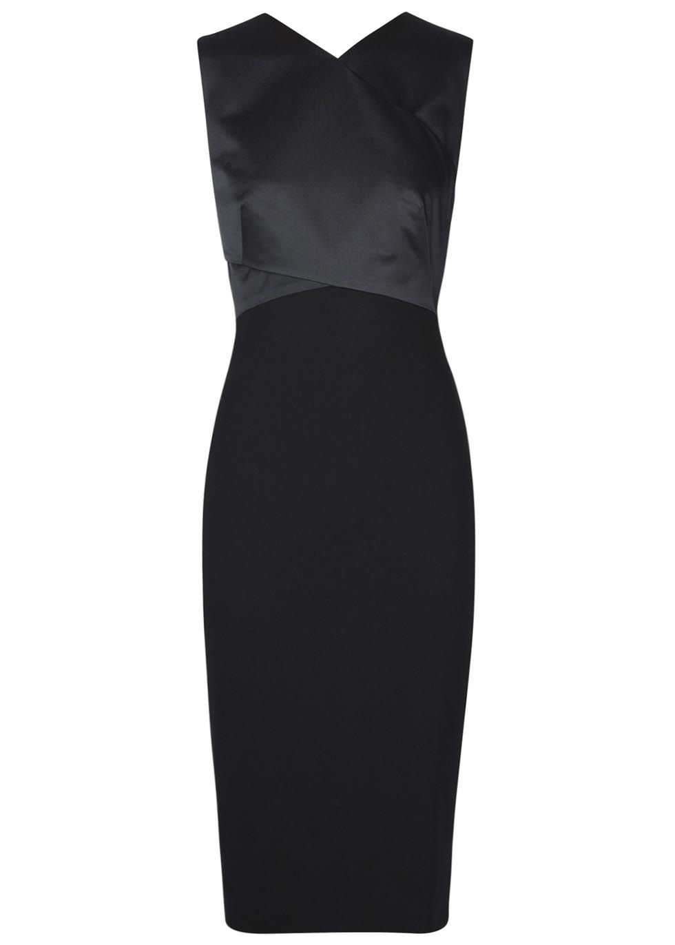 77473a878f Jason Wu black satin dress Open crossover back, contrast ponte jersey skirt,  back