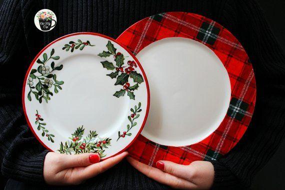 scottish tartan hand painted porcelain plate christmas table dinner rh pinterest com