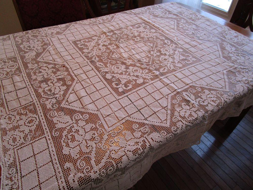details about lovely vintage large white banquet tablecloth rh pinterest com