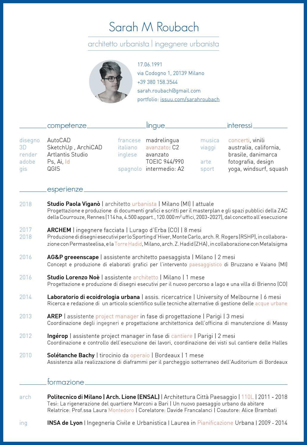 Sarah Roubach Curriculum Vitae 2018 Italiano