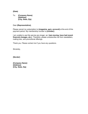 gym cancellation letter request that a subscription or club cancel your 1271