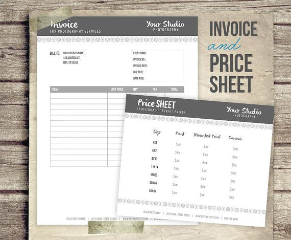 Photography Business Forms  Invoice Form And Portrait Pricing Sheet