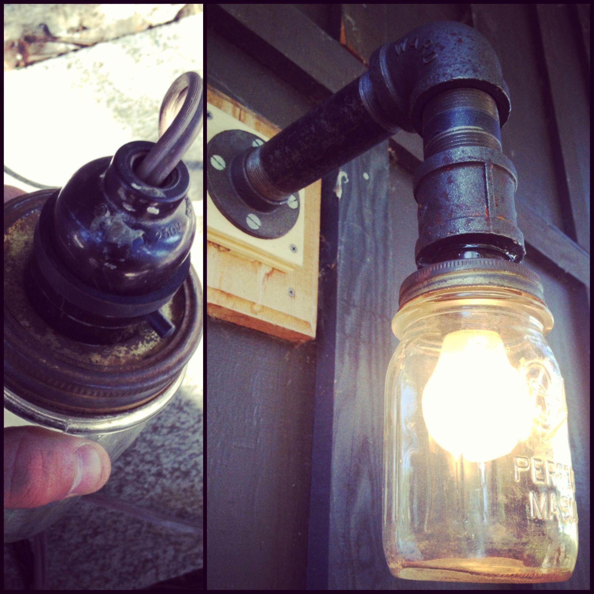 diy mason jar porch light black iron pipe for the arm diy home decor diy mason jar lights. Black Bedroom Furniture Sets. Home Design Ideas