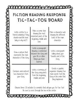 Fiction Reading Response Tic Tac Toe  Tic Tac Toe Fiction And School