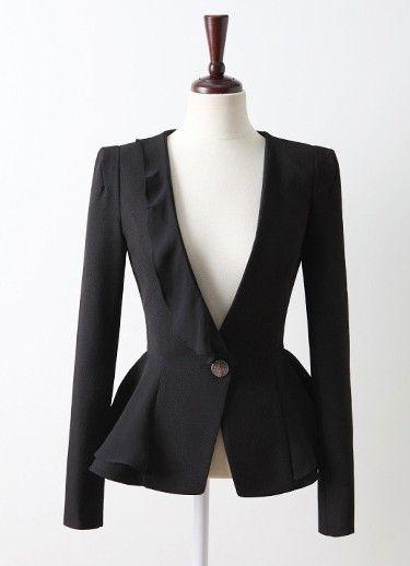Black Long Sleeve Ruffles Asymmetrical Suit