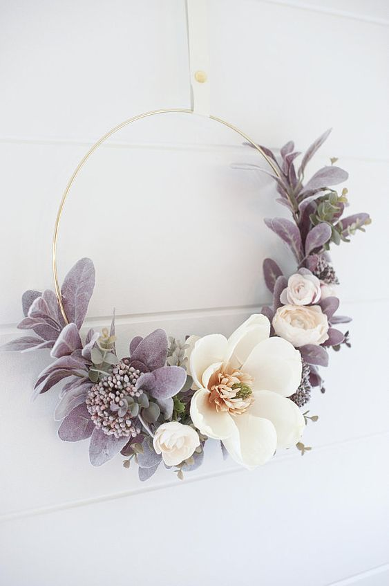 Photo of Modern Fall Magnolia & Sweet blush Rose wreath | hoop wreath | Fall wreath | fall decor …