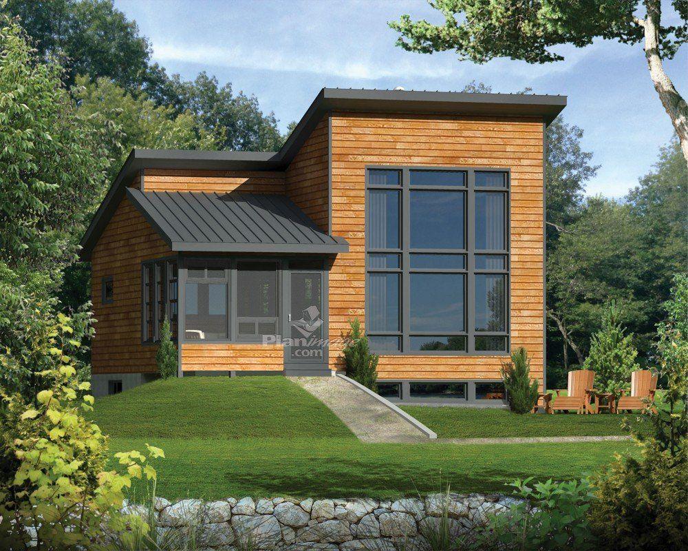 Le Revetement Exterieur En Bois Une Veranda Munie De Moustiquaires De Meme Que La Fene Cottage Style House Plans Modern Style House Plans Vacation House Plans