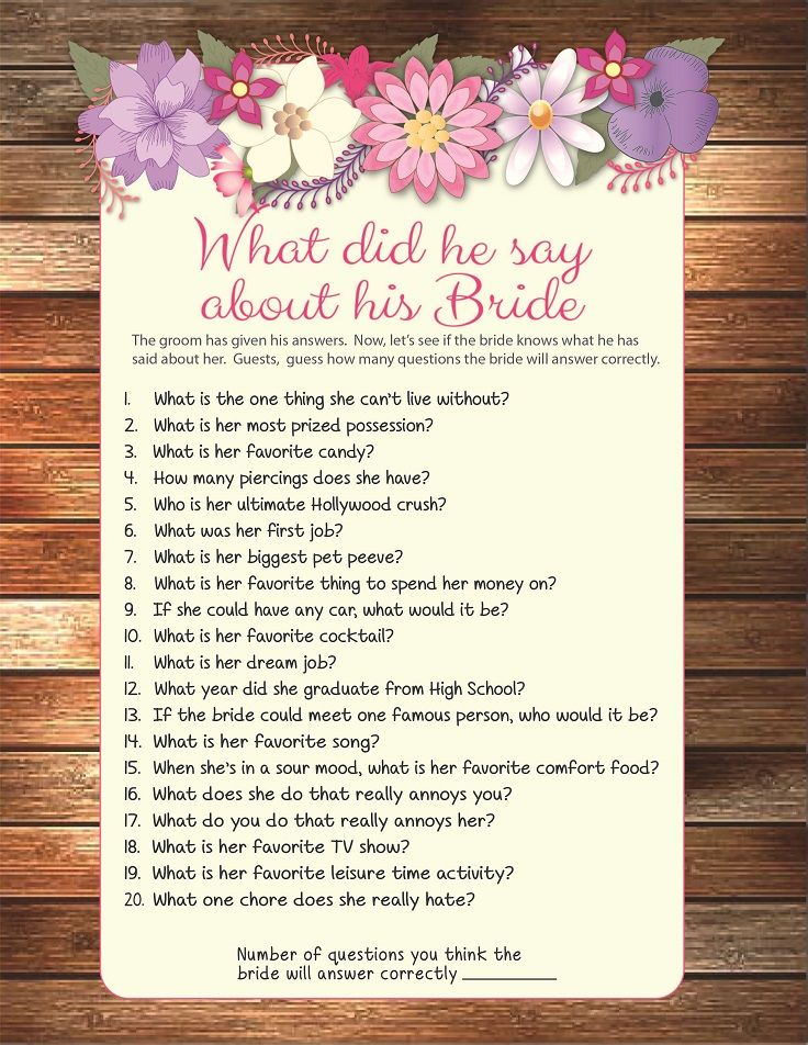 Bridal Shower game Wedding Shower Game What