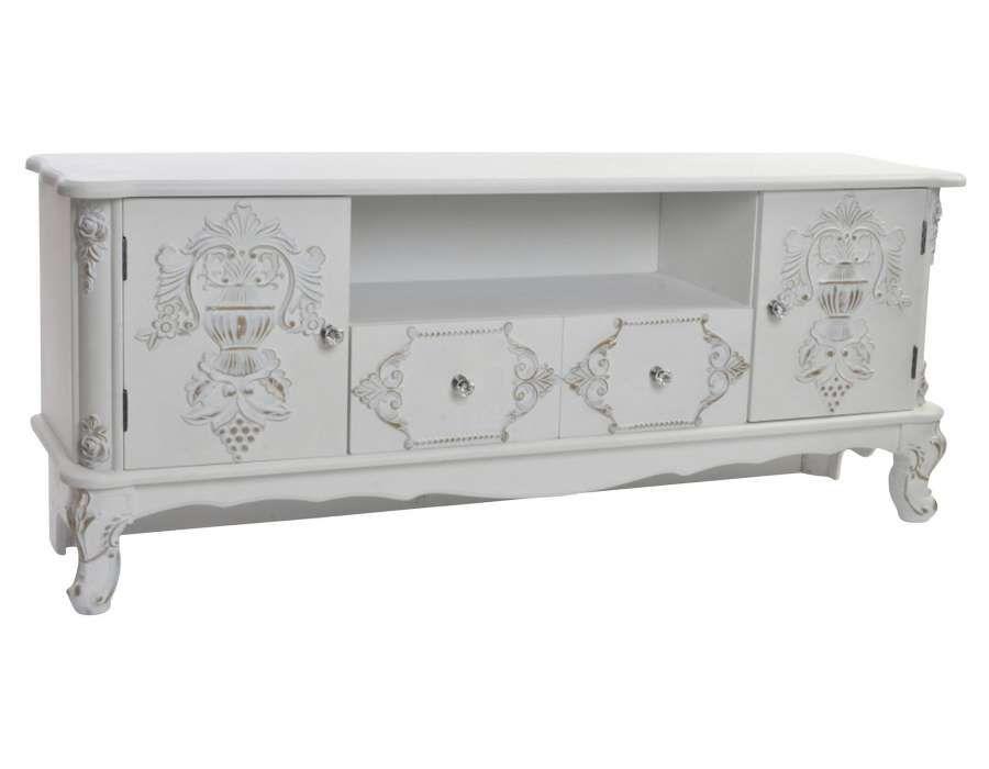 Meuble Tele Blanc Et Or Oriental Pas Cher Sculpte Petit Meuble