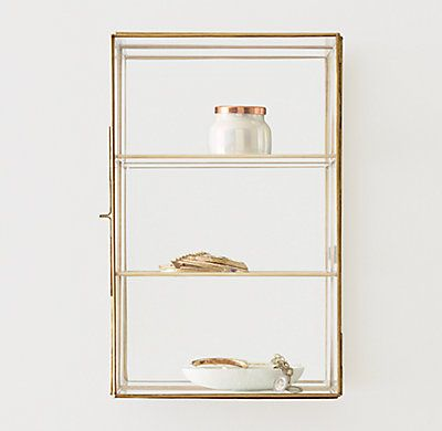 Mirrored Glass Wall Mount Curio Case Wall Display Case Glass Shelves Glass Wall Shelves
