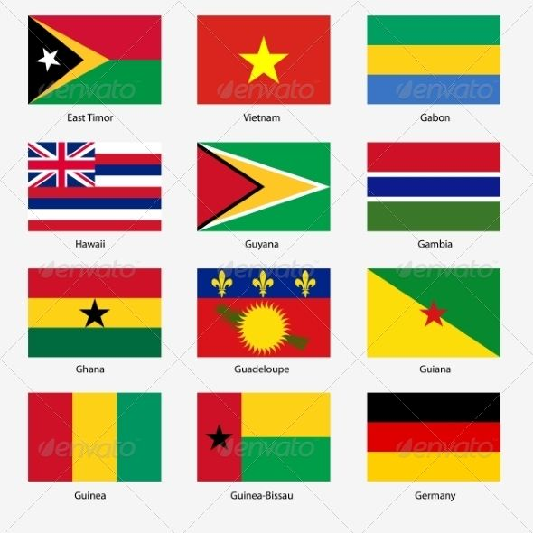 Flag Set of World Sovereign States ... Guiana, Guyana, collection ...