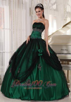 Pretty Green Quinceanera Dress Strapless Tulle and Taffeta Beading ...