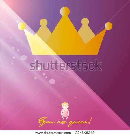 Beautiful shining princess crown, Illustration of a Cute Little Girl Wearing a Princess Costume - stock vector