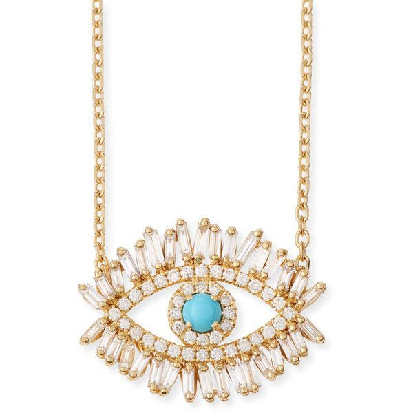 Suzanne Kalan 18k Diamond & Turquoise Evil Eye Pendant Necklace b7Qfxa