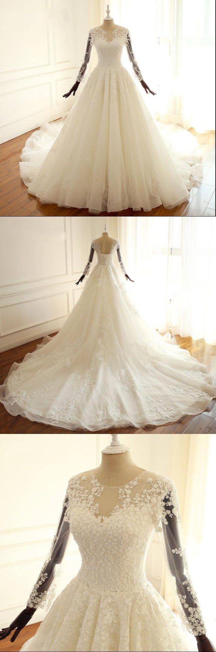 Long sleeves aling bridal gowns ivory beach scoop lace up back