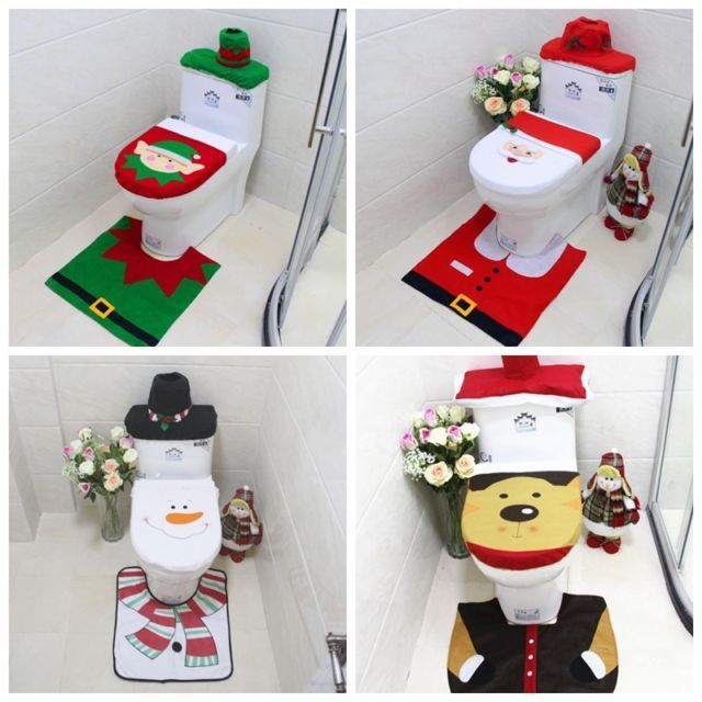 Christmas Xmas Decoration Toilet Seat Cover Set Santa Claus Elf Reindeer Snowman