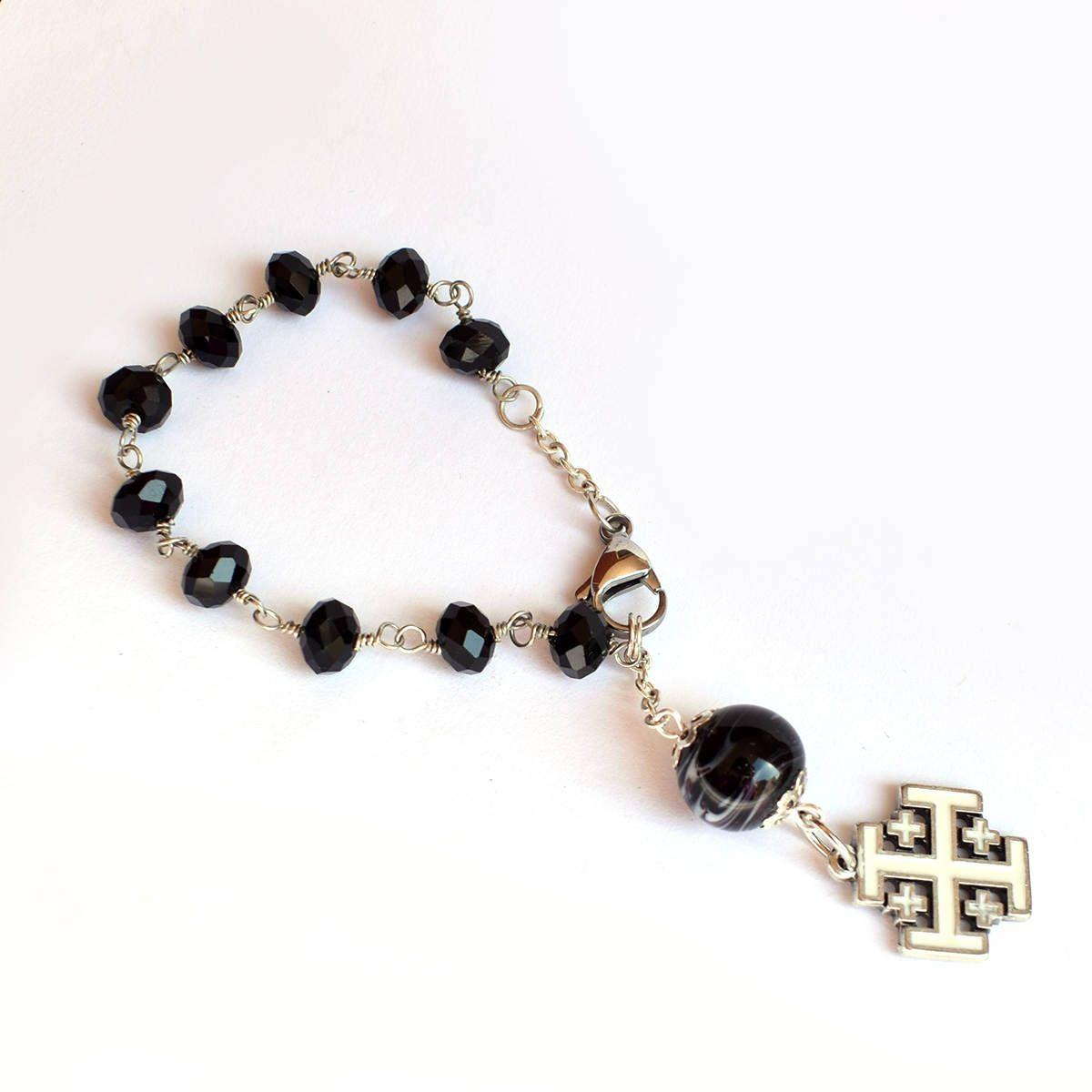 Jerusalem cross rosary men bracelet catholic chaplet religious