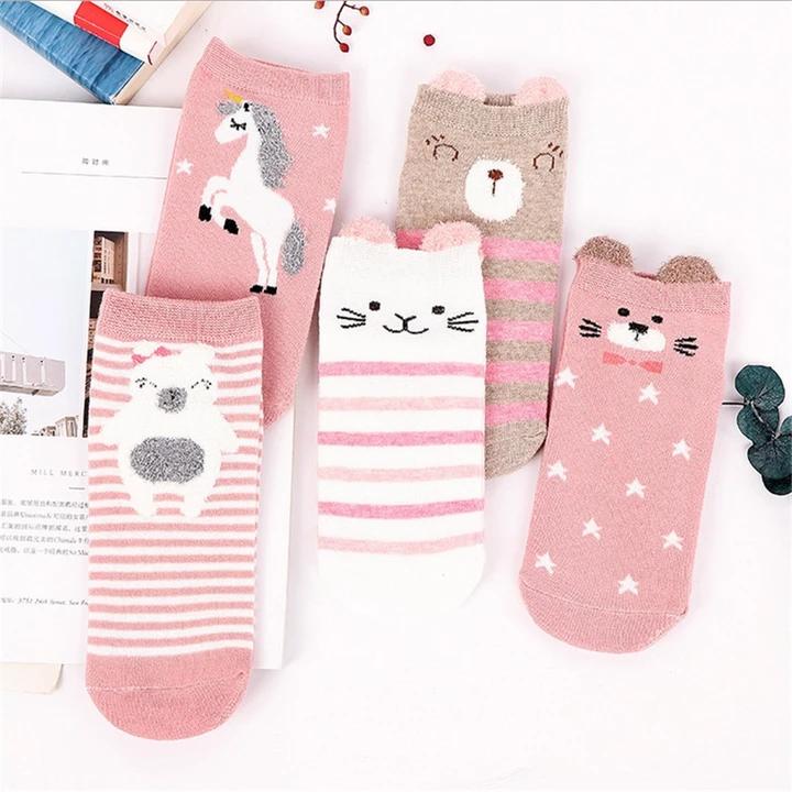 5pairs Pack 100 Cotton Kids Socks Lot Unicorn Unisex Baby Socks For Girls Boys Children Soft Winter Cute Cartoon Socks Set In 2020 Unisex Baby Socks Kids Socks Kids Cotton Socks