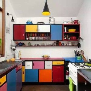 Colorful Kitchen Ideas With Multicolored Cabinets