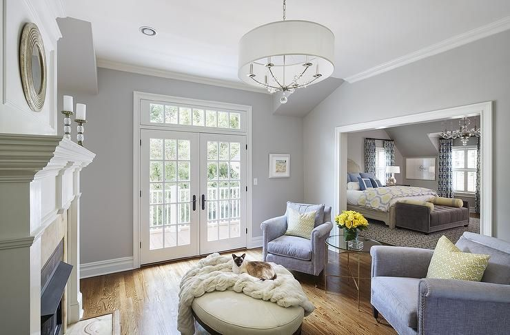 Best Chic Master Bedroom Sitting Area Boasts Walls Painted Gray 640 x 480