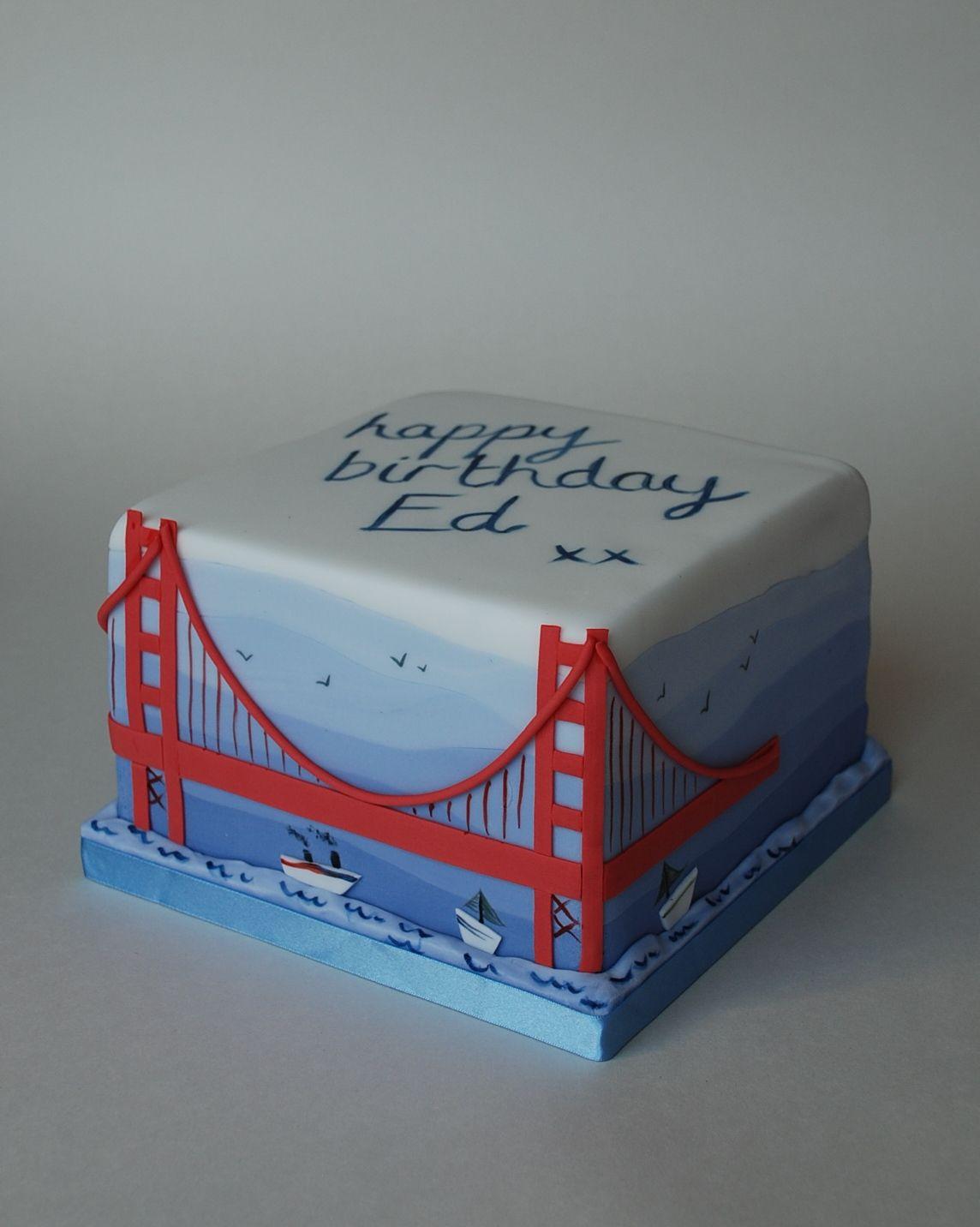 Golden gate bridge cake fondant cake designs city cake