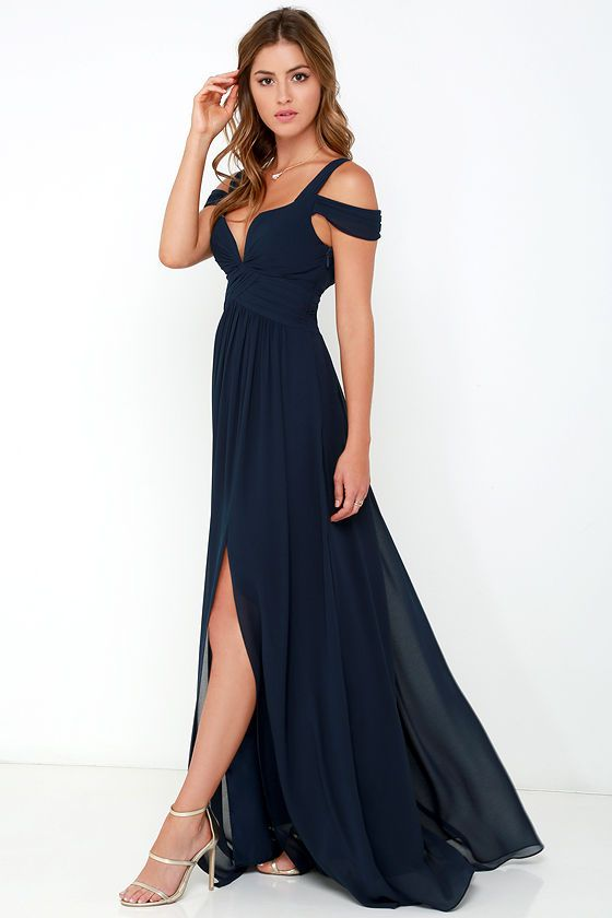 Bariano Ocean of Elegance Navy Blue Maxi Dress | Pinterest ...