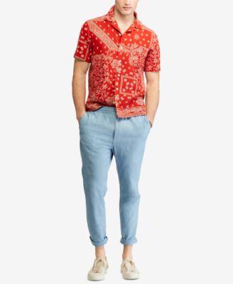 dfbcbd788 Polo Ralph Lauren Men's Bandana Print Classic-Fit Short-Sleeve Shirt -  Batik Bandana XXL