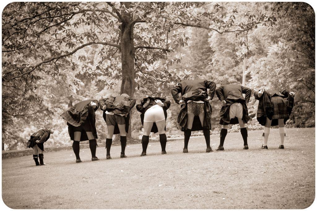 Image result for groomsmen kilt mooning