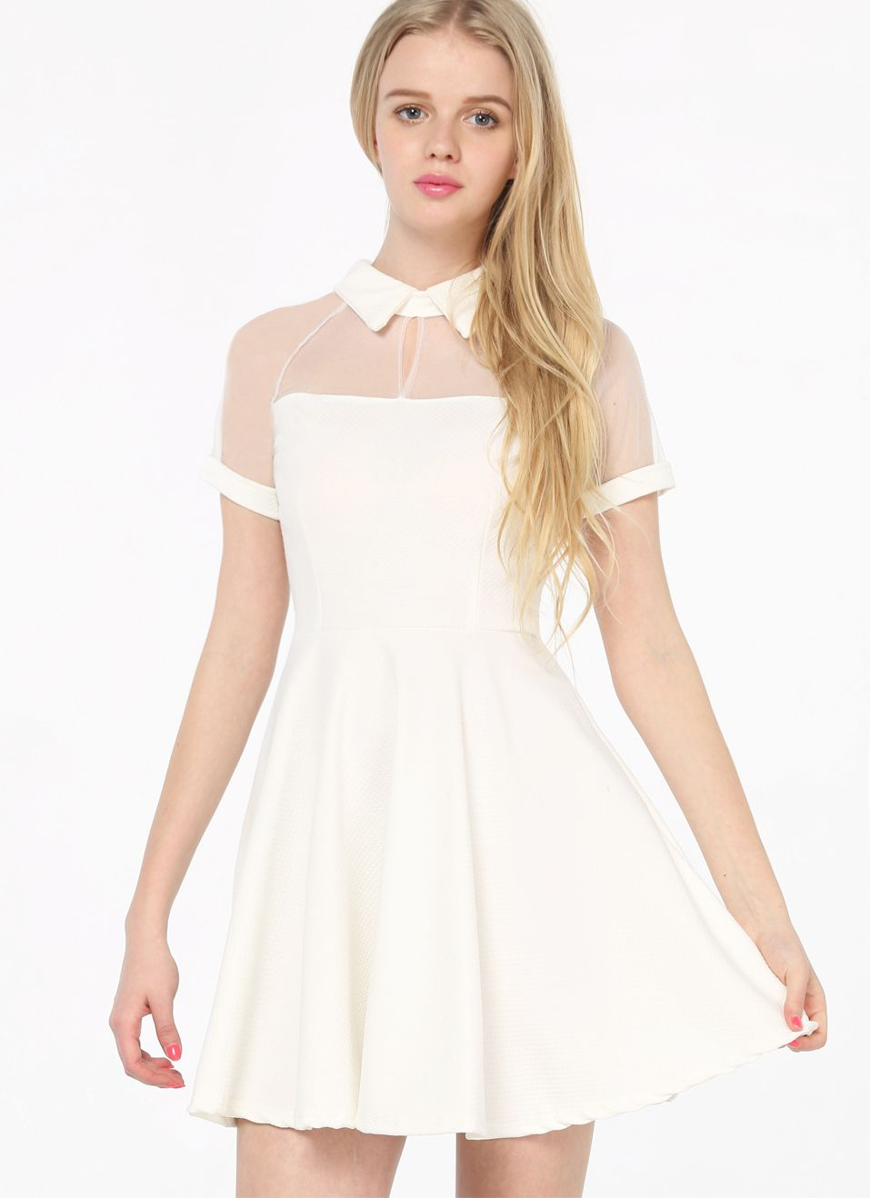 c816b48a3e White Short Sleeve Mesh Peak Collar Skater Dress - Up to 50% Off on  Clearance Sale   Sheinside