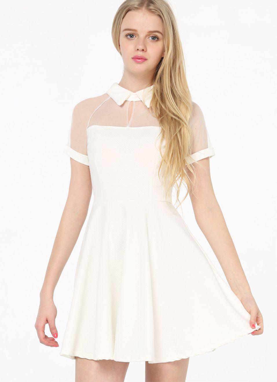 White Short Sleeve Mesh Peak Collar Skater Dress - Up to 50% Off ...