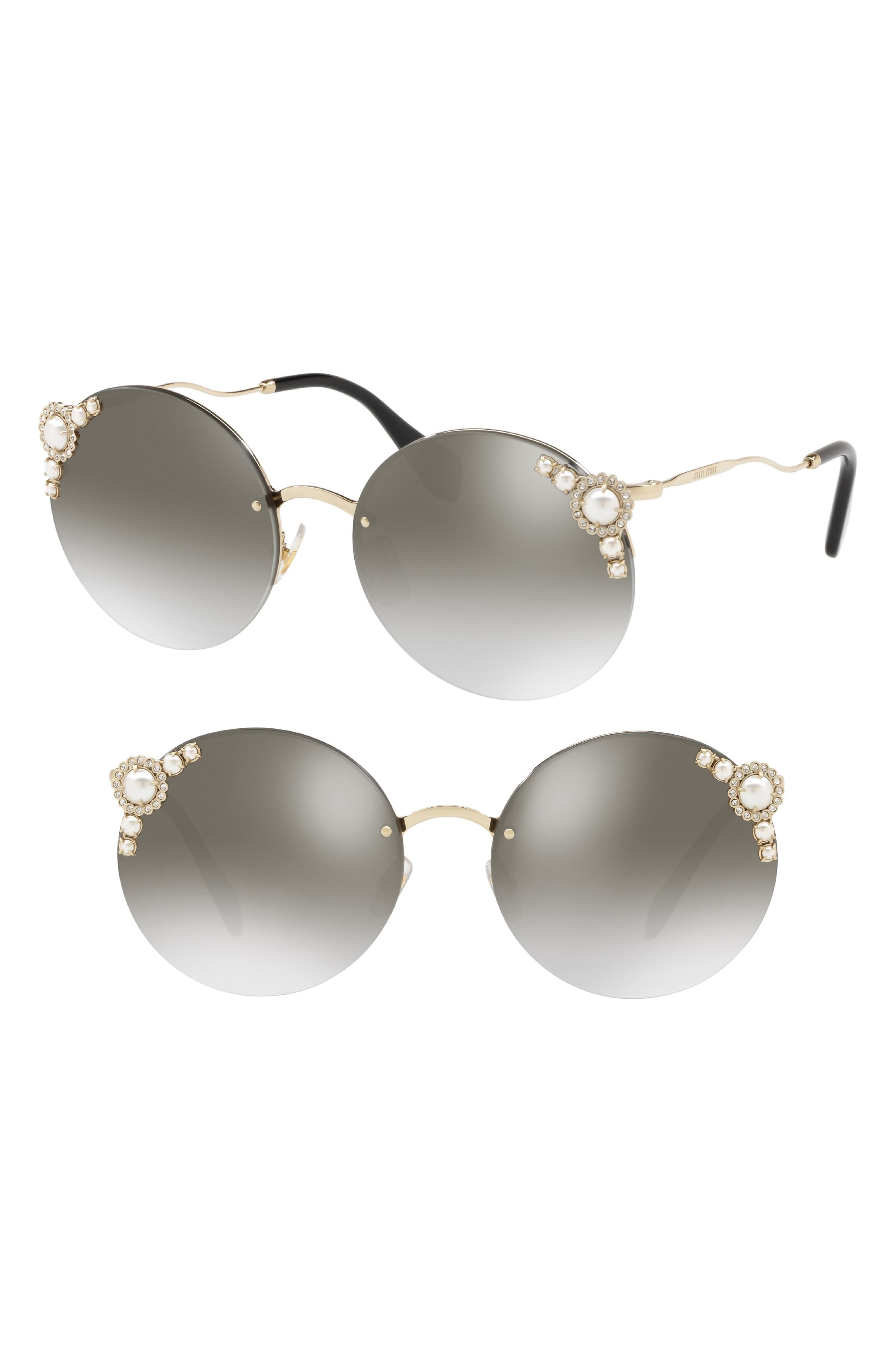 12f77e177ab7 Women's Miu Miu 60Mm Gradient Embellished Sunglasses - Grey Gradient Mirror