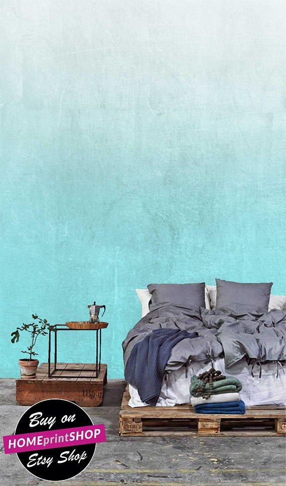 Turquoise blue gray wallpaper luxury mural wall art decor Home